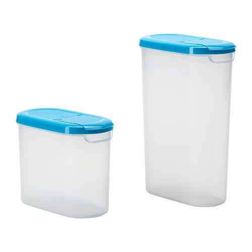 IKEA - JÄMKA, Pot m deksel houdb product, set v 2, 1.1/1.9 l, , Verwijder de hele deksel om de pot te vullen en open de helft van de deksel om makkelijk te kunnen gieten/schenken.Ontworpen voor een goede grip als je tegelijkertijd wilt gieten en roeren.Doordat de pot doorzichtig is, kan je makkelijk vinden wat je zoekt.Voor het bewaren van rijst, meel, e.d.