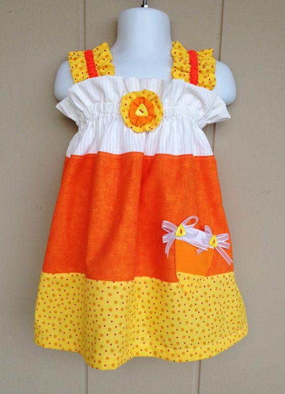 Candy Corn Fall Dress size 05yrs Sweet by ThisNThatByNicolette,