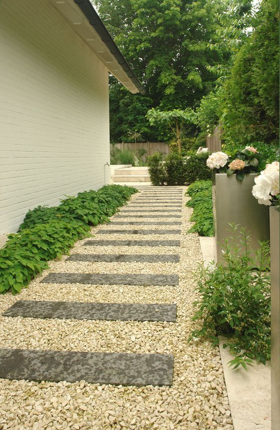 Gardens walkways and paving slabs on pinterest for Garden designs for side of house