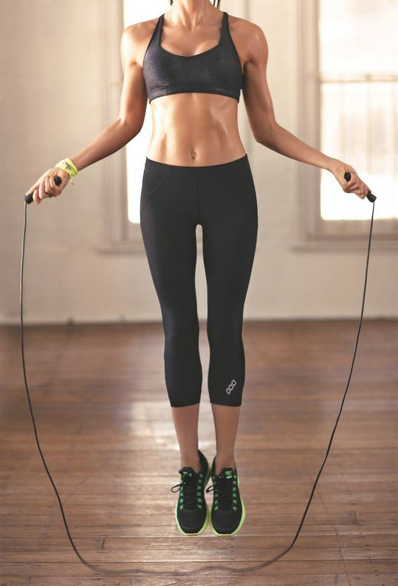 Obsessed with jumping rope! This is an amazing and effective way to boost some cardio into your workout. You can literally jump rope anywhere, no gym required. Works legs, butt and arms!: