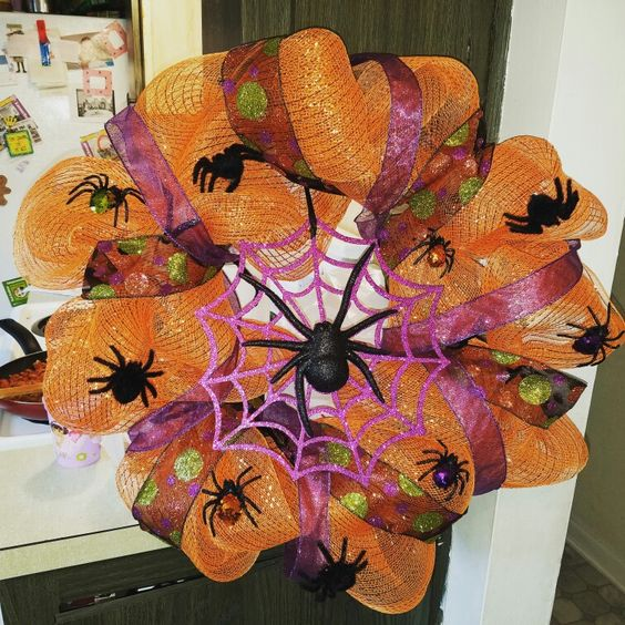 Halloween Wreath with Spiders