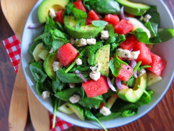 Watermelon + Feta + Avocado Salad- almost too beautiful to eat!