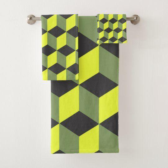 Diamond Repeating Pattern In Yellow Black Grey Bath Towel Set
