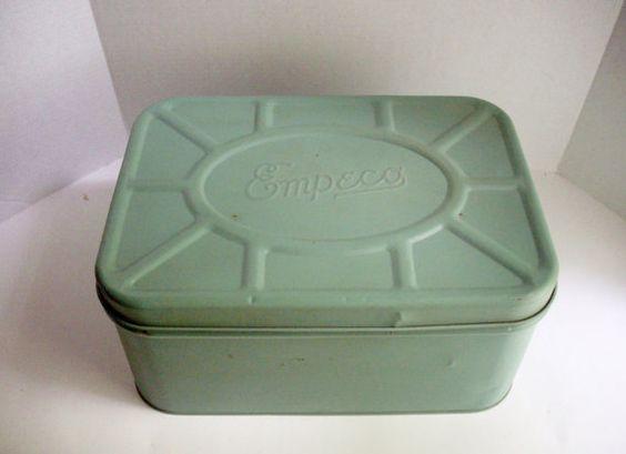 Vintage Empeco Bread Box Turquoise Green 1940's