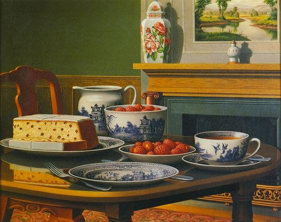 Levi Wells Prentice (1851-1935) —  Tea Cake and Strawberries (1280x1013):