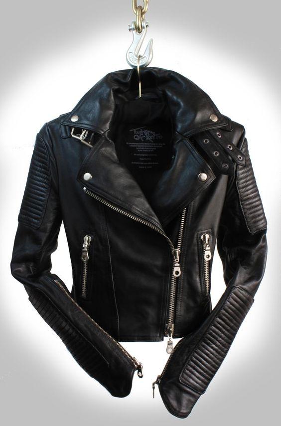 "The ""Scarlett Noir"" Jet Black Heavy Washed Lambskin Ladies Quilted Double Rider Biker Jacket"