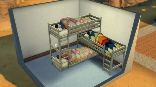 Fully Functional L Triple Bunkbed Bunk Beds Sims 4 Bedroom Sims 4 Cc Furniture