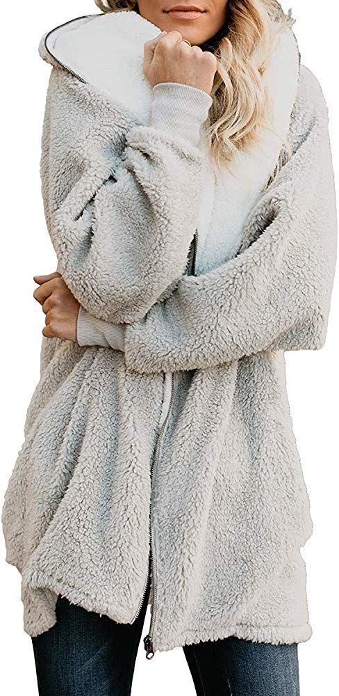 XQS Womens Hooded Faux Fur Coats Long Jacket Button Pullover Sweater