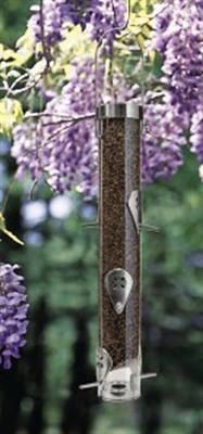 """Ring Pull Thistle Feeder - Polycarbonate with brass, aluminum and stainless steel hardware. 16"""" H. Six Ports."""