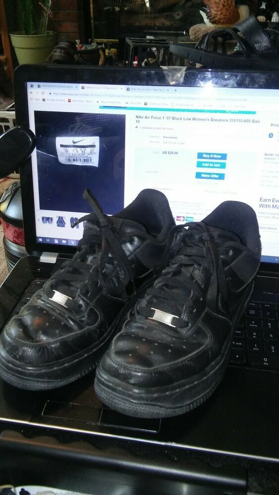 eBay Ad) Nike Air Force 1 '07 Black Laced Athletic Sneakers