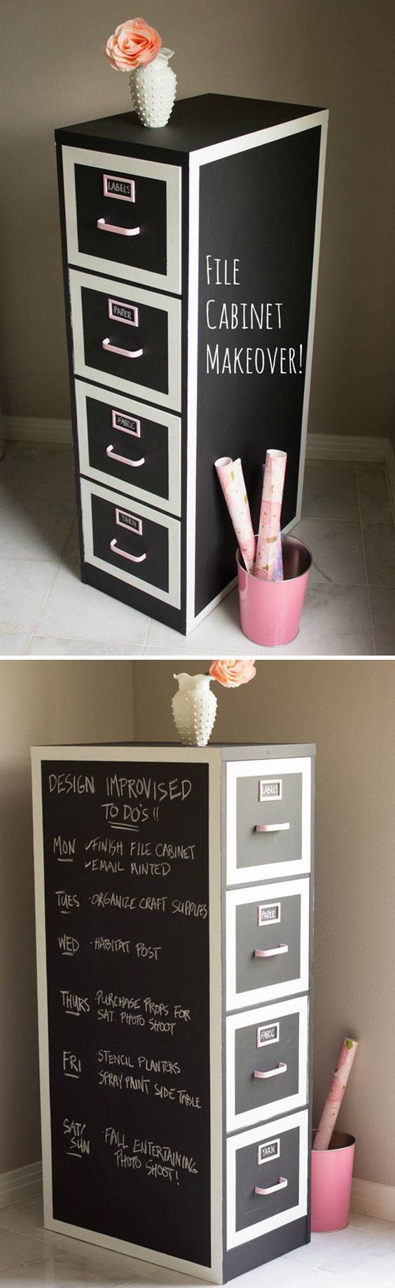 DIY Cabinets Makeover with Chalk Paint | File Cabinet Makeover by DIY Ready at http://diyready.com/16-more-diy-chalk-paint-furniture-ideas/