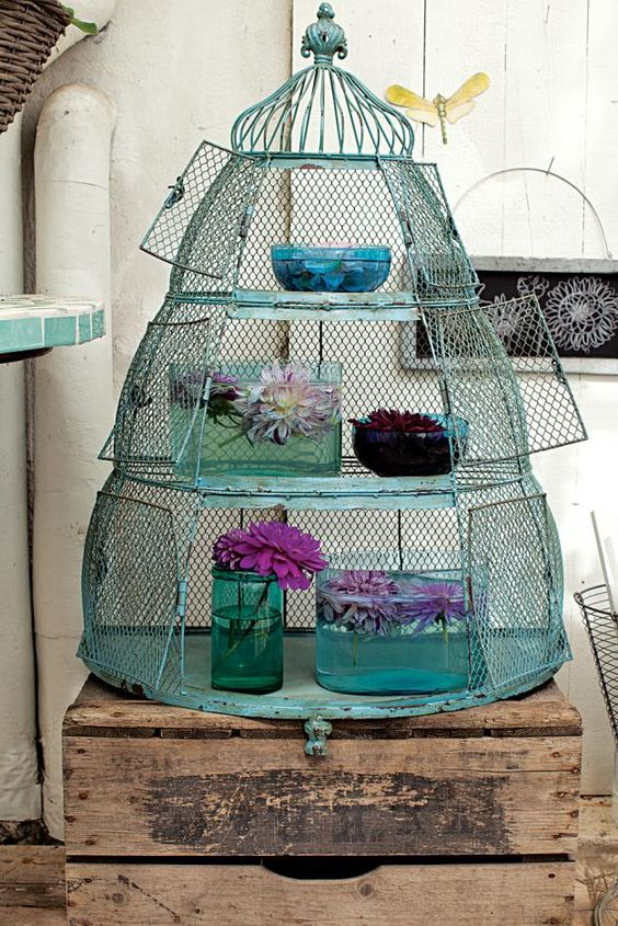 Cool bird condo used for display.  Love the colors.: Swedish Garden, Oversized Birdcage, Birdcages, Art Ideas, Display Ideas, The Birdcage