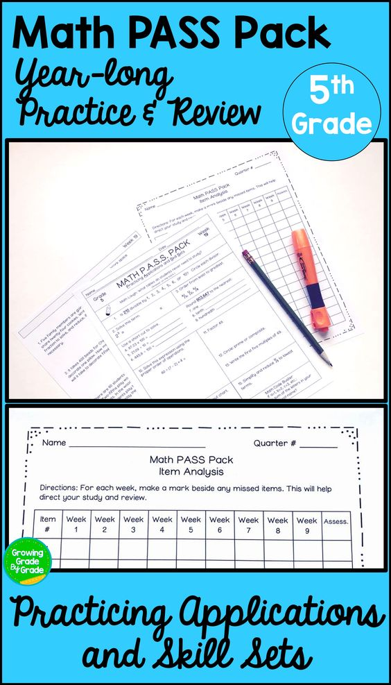 Math Practice Worksheets Spiral Review Applications Skills PASS