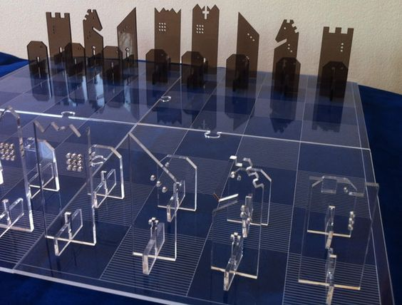 2D Abstract Chess Set laser cut from acrylic on Kickstarter | Flickr - Photo Sharing!