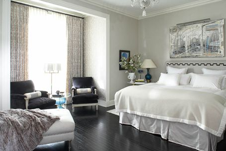 Chic Gray Bedroom Design With Gray Paint Color Walls