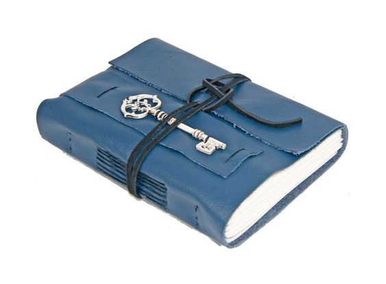 Navy Blue Leather Journal with Key Bookmark - Ready to Ship -