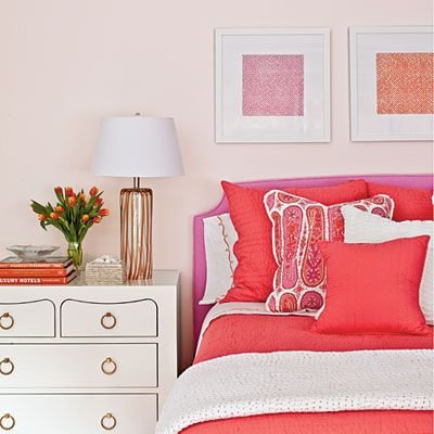 coral and purple bedroom: Guest Room, Coral Pink, Girl Room, Coral Bedroom, Bedside Table, Girls Room, Pink Bedrooms