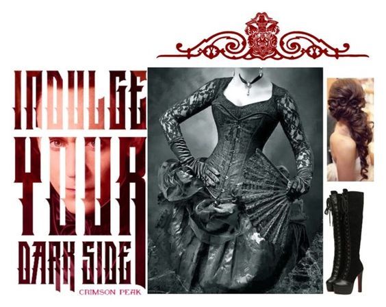 """Indulge Your Dark Side with Crimson Peak : Contest Entry"" by aoifeacheron ❤ liked on Polyvore featuring vintage, gothic, victorian and CrimsonPeak"
