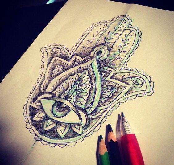 Main de fatma dessins pinterest - Coloriage main de fatma ...