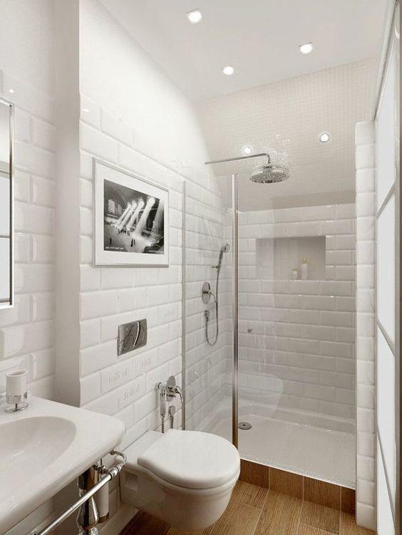 ideen kleines bad weiße fliesen SDB Pinterest House - schiebetüren für badezimmer