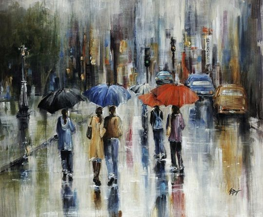 Downtown Downpour In 2019 Large Painting Art Wall Art