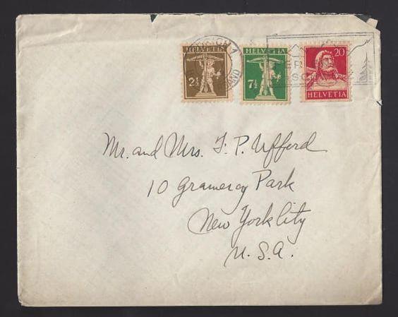 1929 Mischfrankatur, Zürich - New York City U.S.A