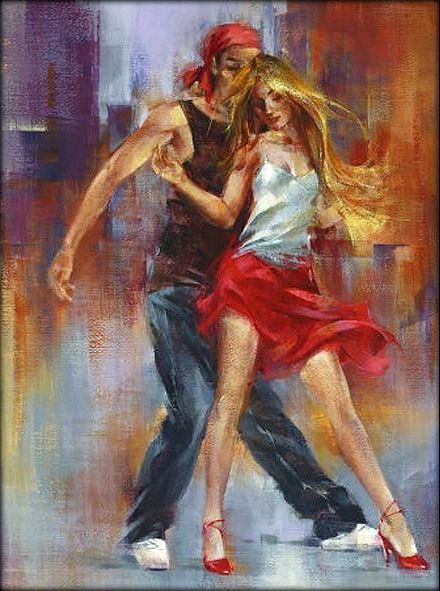 Dancing - contemporary oil painting - 60x80cm,  23,6x31,5in  Don't know the painter.: