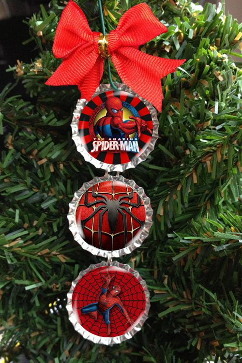 Spiderman Christmas Tree Ornament Bottle Cap going to try to make ...