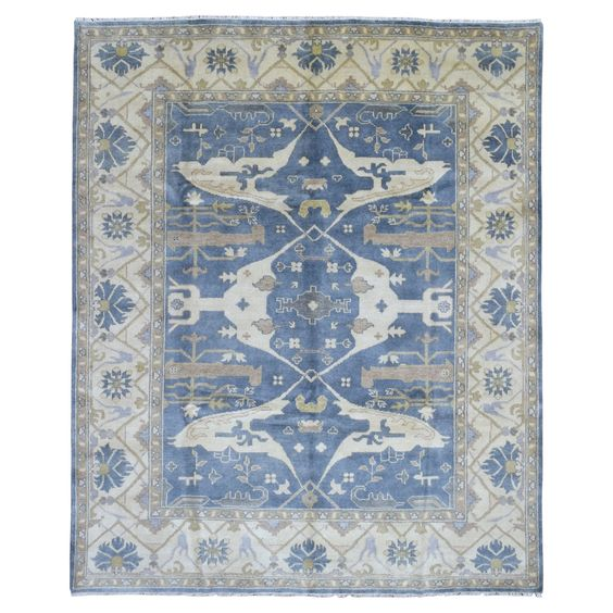 FineRugCollection Oushak Beige and Blue Wool Handmade Rug (8'2' x 10') (Beige & Blue Wool Rug (8'2 x 10')), Size 10' x 10'