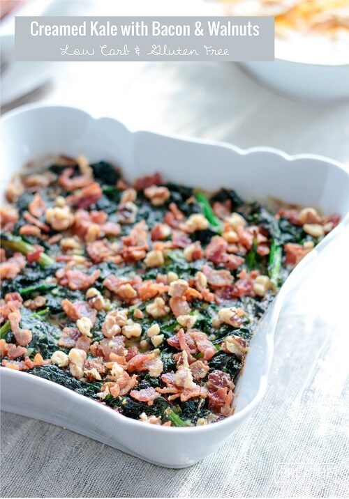 Low Carb Creamed Kale with Bacon and Walnuts Recipe