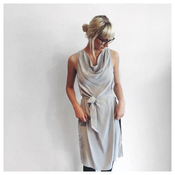 """NOBODYS FOOL〰  Tori wearing @cmeocollective Nobodys Fool Silk SS Top in Silver  #newstock #silver #neckline #tieup #silk #cmeocollective…"""