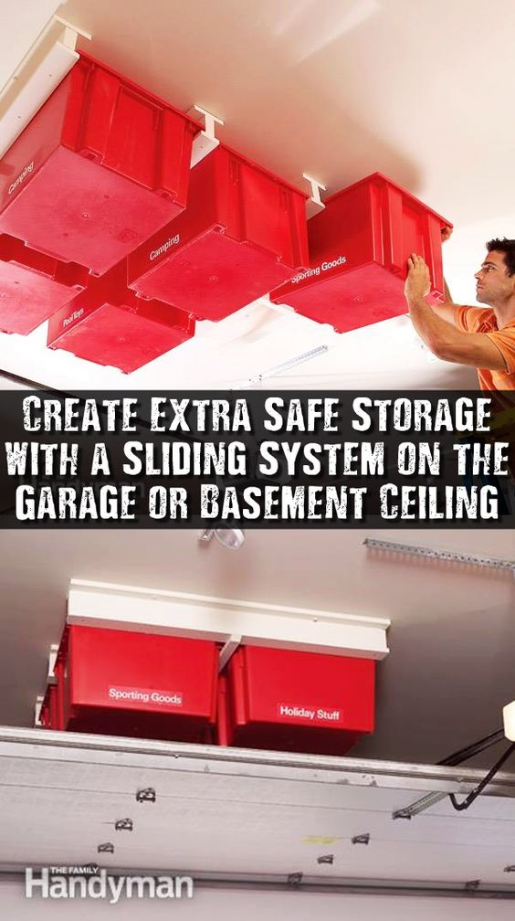 Create Extra Safe Storage with a Sliding System on the Garage or Basement Ceiling - If your garage or basement is running out of space, try building this overhead storage system. The construction is simple and fast, and the whole system is made with standard materials.