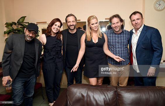 Dave Attell, Vanessa Bayer, Judd Apatow, Amy Schumer, Mike Birbiglia and Colin Farrell backstage at The Train Wreck Comedy Tour at The Wiltern Theater on June 21, 2015 in Los Angeles, California.