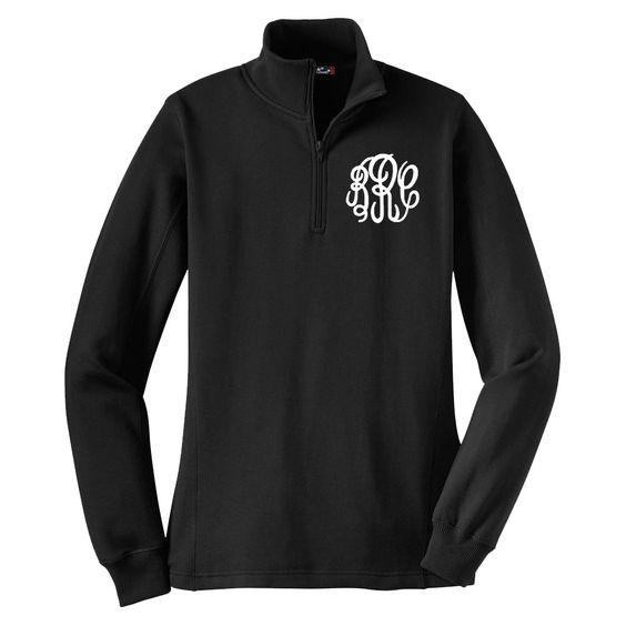 Ladies #Monogrammed 1/4 Zip Pullover- Black
