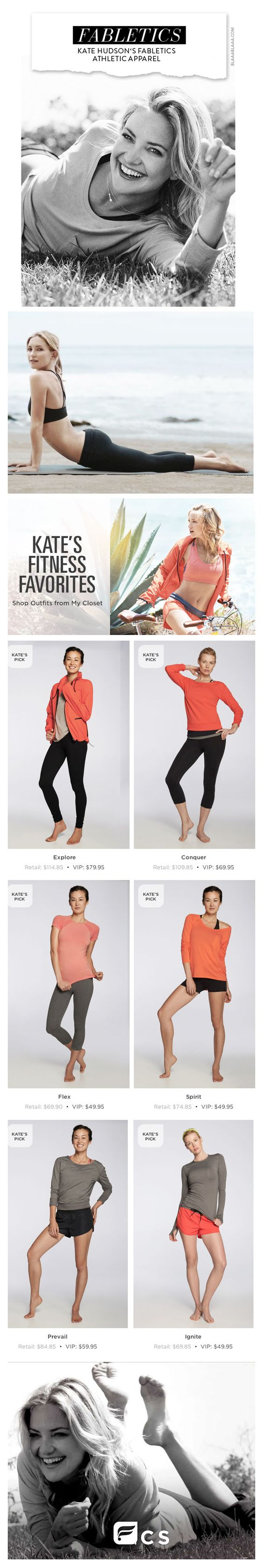 Fabletics Athletic Apparel by Kate Hudson! Save 40% off retail prices by purchasing FULL outfits starting at $49.95. This gear is top of the line and very high quality. Use my personal Fabletics Master referral link to save 20% off your first order!  http://www.fabletics.com/invite/17114549/