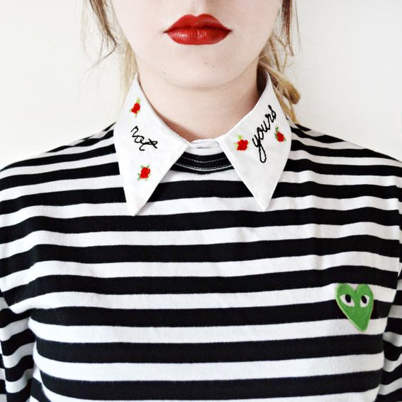 No tuyo desmontable bordado Peter Pan Collar falso feminista