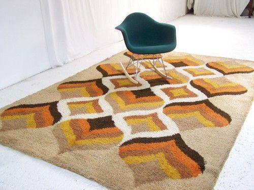 Large Vintage Retro Floor Rug Carpet Retro Abstract