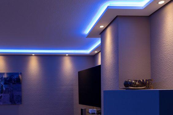 mit LED Band bzw Lichtschlauch und  oder Spots bzw Downlights