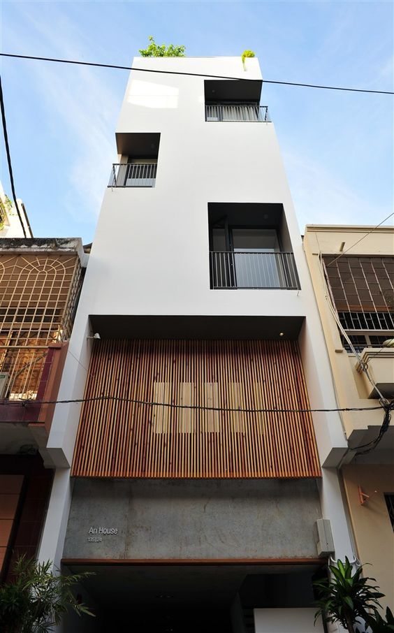 Vertical narrow modern house simple elevation nh ph for Simple modern house architecture