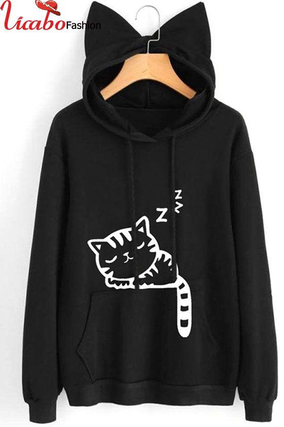 Women/'s Cat Ear Hoodie Sweatshirt Hooded Sweater Jumper Casual Pullover Jacket