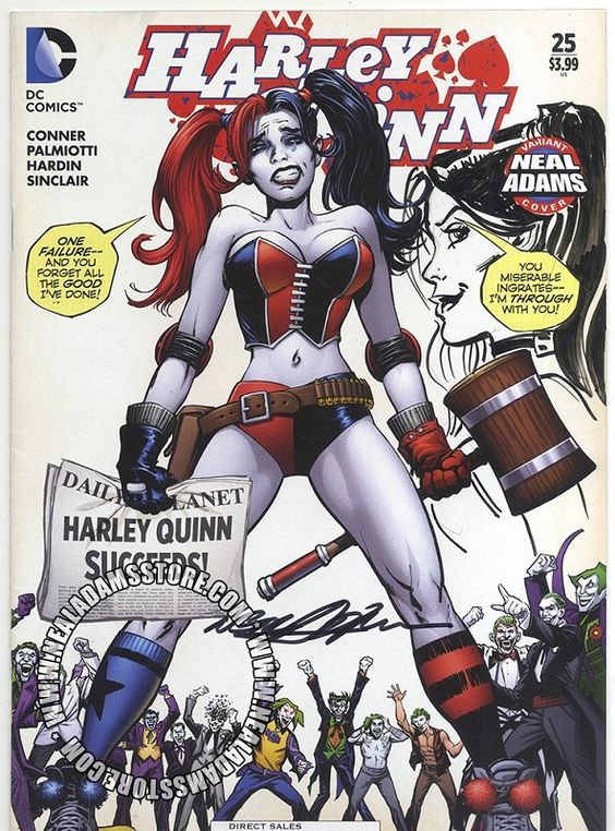 Harley Quinn #25 Variant Cover with Neal Adams with Remarque of Harley
