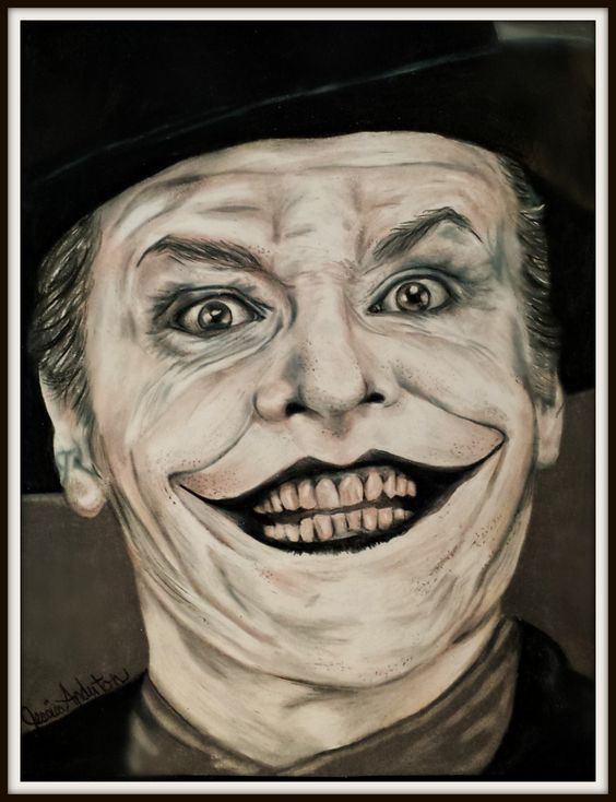 Portrait Drawing/ Color Pencil of Jack Nicholson as the Joker by Jessica Anderton