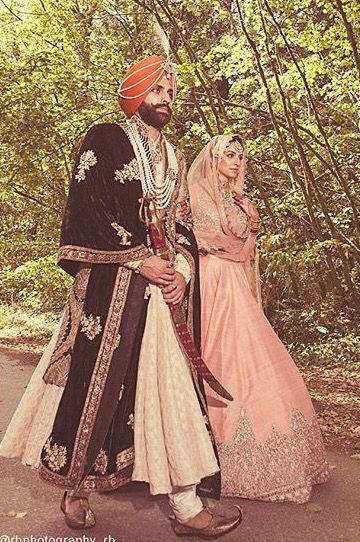 Sikh Bride and Groom - Pastel Pink Hoop Skirt Lehenga