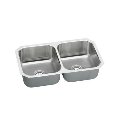 Elkay Neptune Undermount Stainless Steel 31 3/4x18 1/4x8 0-Hole Double Bowl Kitchen Sink-NUH3118 at The Home Depot