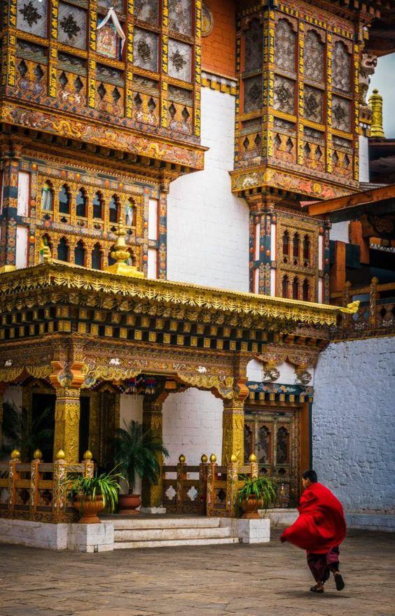 Monks at Punakha Dzong, Bhutan