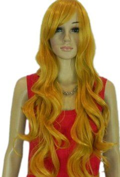 Qiyun Long Blonde Yellow Curly Wavy Synthetic Hair Full Costume Wig