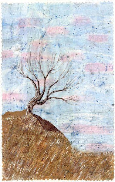 Tree print Winter season tree various sizes from original watercolor batik painting on Japanese rice paper, distressed look vintage-like