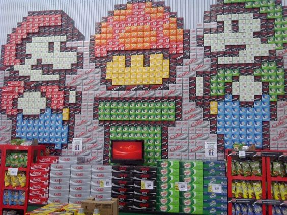 now if only waluigi was in this: Grocery Store, Mario And Luigi, Video Games, Store Displays, Super Mario Bros, Soda Case