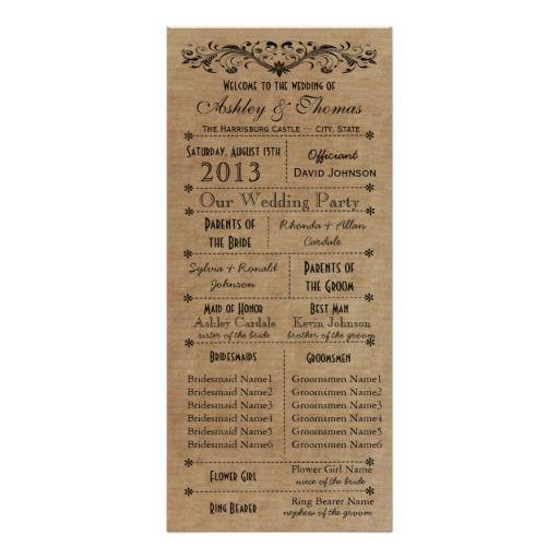 Rustic Typography Wedding Programs 6 Bridesmaids Custom Rack Card