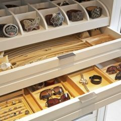 accessory drawers in center island in closet